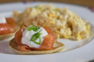 Salmon breakfast at Linndhu house